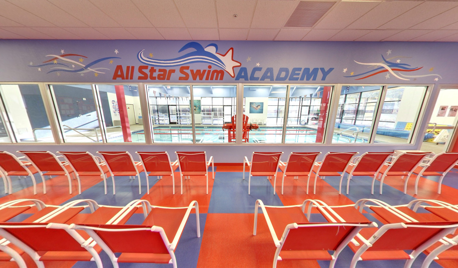 Viewing area of All Star Swim Academy in Las Vegas facing the swimming pool