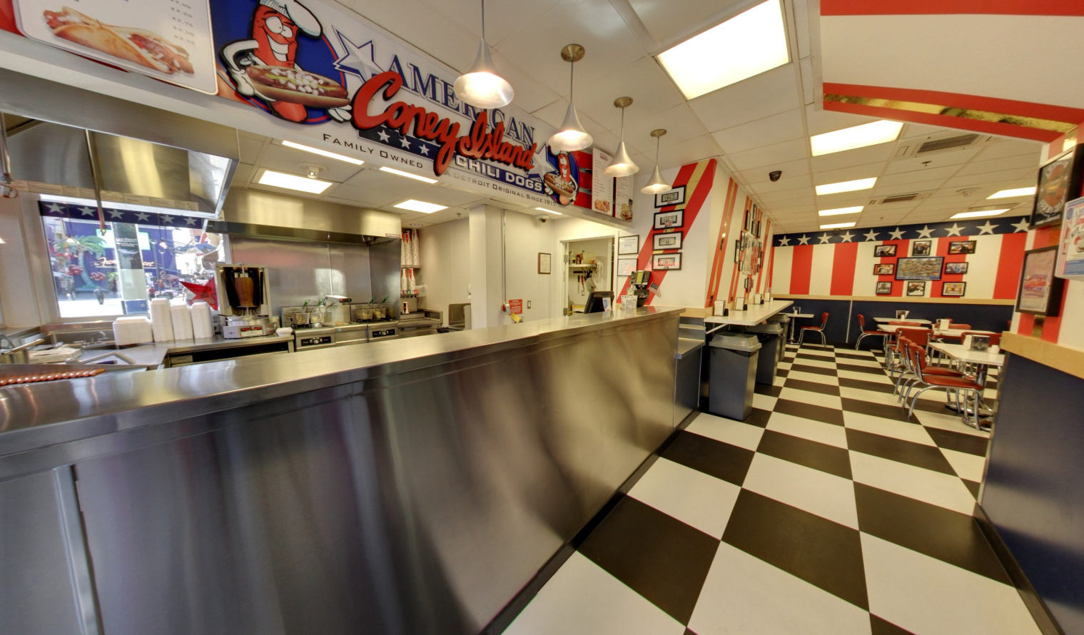 Kitchen counter and dining area of American Coney Island Las Vegas