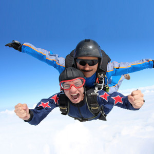 Fun activities of two men doing sky diving