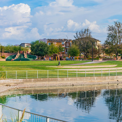 Park with water lagoon in Winchester, Las Vegas