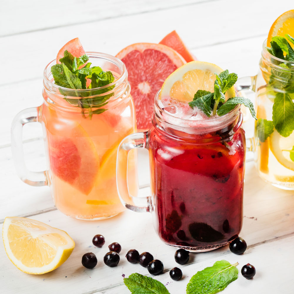 Drinks served in mason jars, garnished with citrus fruits and peppermints is best paired with food as thirst quenchers.