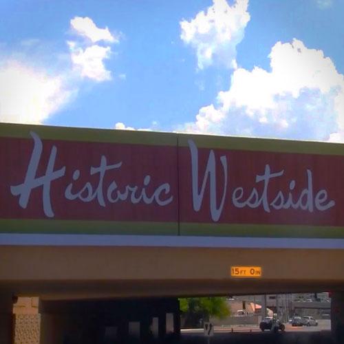 Iconic signage of the Historic West Side neighborhood