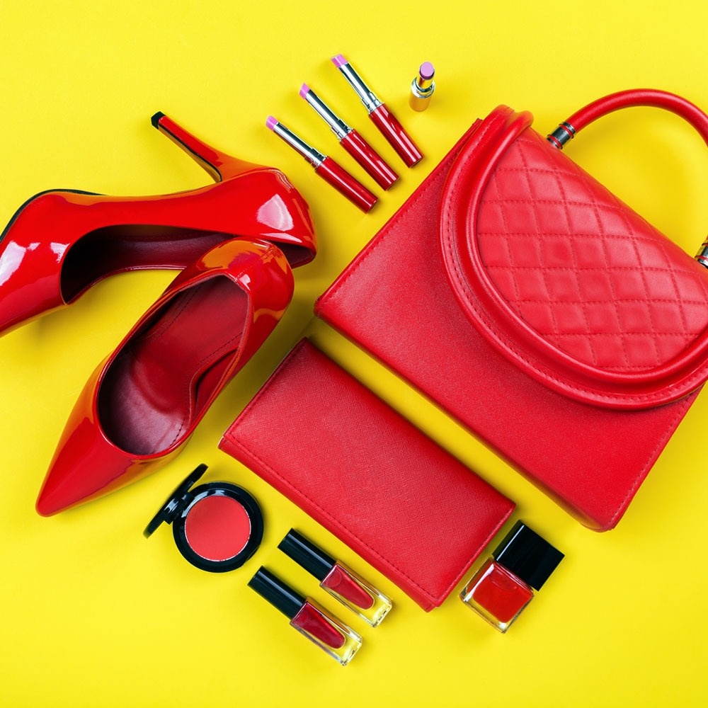 Different fashion finds such as bags, shoes, wallet, and makeup.