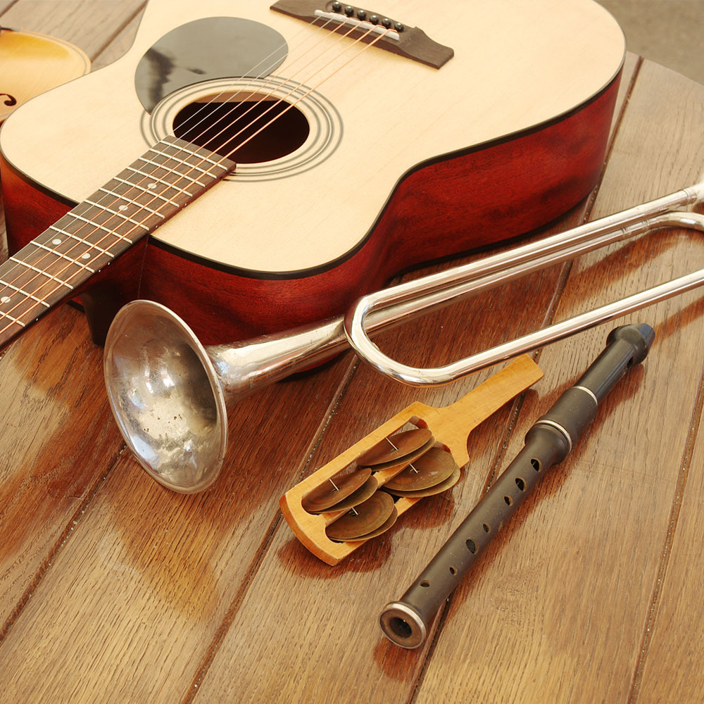 Guitar, trumpet, flute and other instruments used for making music