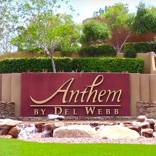 """Signage with """"Anthem"""" texts - one of the localities in Henderson, Nevada."""