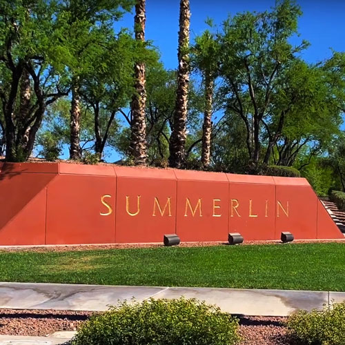 Summerlin signage in a park