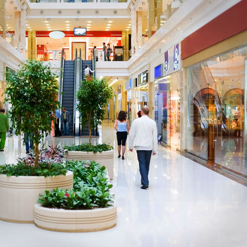 Interior of a shopping mall in Silverado Ranch with shoppers