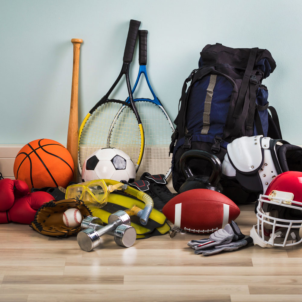Different kinds of athletic materials and pieces of equipment used for sports