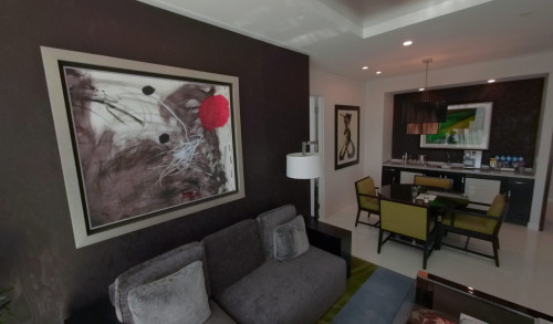 Mini living room and kitchen inside a suite in Aria Sky Suites, Las Vegas